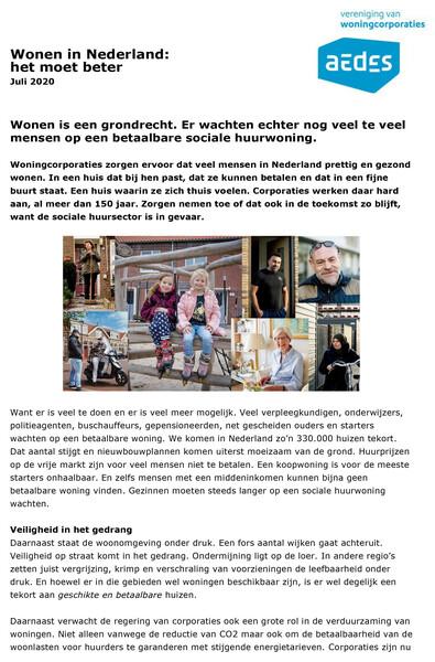 Voorkant van publicatie Wonen in Nederland het moet beter van Aedes met hoofdboodschappen voor in het regeerakkoord van een nieuw kabinet na de verkiezingen van 17 maart 2021